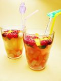 Fruit punch cocktail drinks with cherry Royalty Free Stock Image