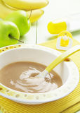 Fruit puree in a bowl, baby food Royalty Free Stock Images