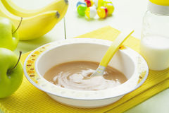 Fruit puree in a bowl, baby food Royalty Free Stock Image