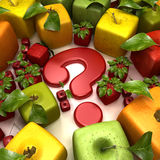 Fruit question. 3D rendering of a selection of cubic fruits surrounding a question mark Stock Photography