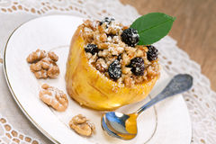Fruit quince with cottage cheese and nuts Royalty Free Stock Photos