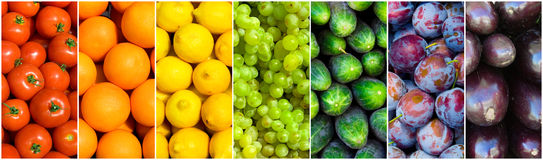 Fruit rainbow. Rainbow made of colourful fruit and vegetable backgrounds Stock Image