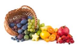 Fruit rainbow. Basket with ripe fesh fruits as a rainbow Royalty Free Stock Photos