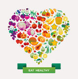 Fruit Rainbow. Fruits and vegetables arranged in a shape of heart and rainbow colours vector illustration
