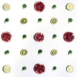 Fruits arranged symetrically. stock images