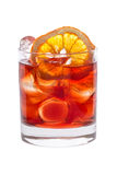 Fruit red and orange lemonade with ice close-up Stock Photography