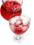 Fruit red punch cocktail drink with cherry Stock Photos