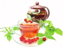 Fruit red tea with raspberry Royalty Free Stock Photos