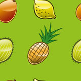 Fruit Repeat 2. A series of fruits made into a repeat pattern against a grass green background Royalty Free Stock Image