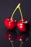 Fruit of ripe red cherry isolated on dark background Royalty Free Stock Photography