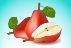 Fruit rouge de poire avec les feuilles vertes Image stock