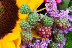 Fruit rouge et vert de framboise entre les fleurs Photos stock