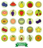 Fruit  Round Filled Line Icon Vector Set Royalty Free Stock Photo