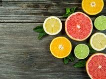 Fruit on rustic wood background Stock Image