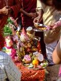Fruit sacrifice for Ganesh Chaturthi. People offering fruits as sacrifice for Ganesh Chaturthi Royalty Free Stock Photo