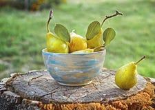 Fruit sain frais : poires mûres sur un fond en bois dans a Photo stock