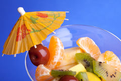 Fruit Salad 0n Blue Background Royalty Free Stock Image