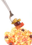 Fruit salad. On cup some pieces on focused Stock Photos