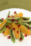 Fruit salad. Fruit dessert kiwi and citrus on the plate Stock Photos