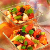Bowls of fresh fruit salad Stock Photo