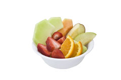 Fruit salad. Personal fruit salad isolated with clipping path Royalty Free Stock Image