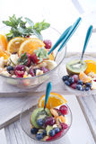 Fruit salad. End of the meal with fruit salad royalty free stock photos