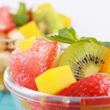 Fruit salad. Healthy fruit mix in the glass bowl Royalty Free Stock Photography
