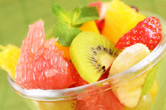 Fruit salad. Healthy fruit salad in the glass bowl Stock Photos