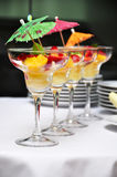 Fruit salad. In a glass goblets, served on the table, shalow dof Royalty Free Stock Image