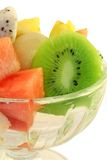 Fruit salad. Fresh tropical fruit salad in a glass serving dish Stock Photo