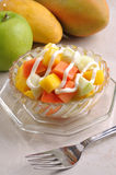 Fruit salad. With apple mango papaya Royalty Free Stock Photos
