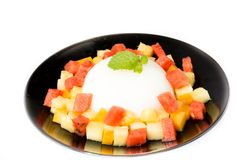 Fruit salad and agar dessert Royalty Free Stock Images