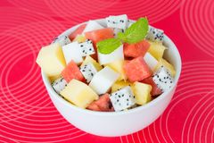 Fruit salad and agar dessert Royalty Free Stock Image