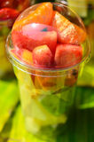 Fruit Salad arranged in plastic cups Stock Images