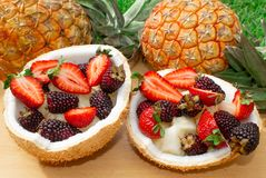 Fruit salad, berries, strawberries, blackberries, ananas in coconut. On the green grass. Still life. royalty free stock photo
