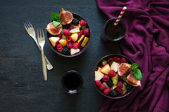 Fruit salad with beverages Stock Images
