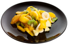 Fruit Salad on a Black Plate Stock Image