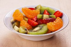 Fruit Salad. A bowl of salad fruits, fresh and colorful stock photography