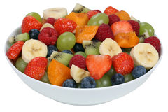 Fruit salad in a bowl with strawberries, blueberries and apricot Royalty Free Stock Images