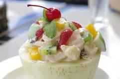 Fruit salad in cantaloupe Stock Photo