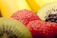 Fruit salad close up. Close up of kiwi,banana ,strawberry and blackberry, that make up a fruit salad Stock Photography