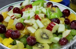 Fruit Salad. Close up of a bowl of fresh fruit salad royalty free stock photo