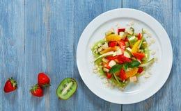 Fruit salad closeup, vegan food. Stock Photo