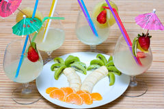 Fruit salad with cocktail Stock Images