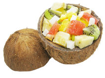 Fruit salad in coconut Stock Images