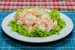 Fruit salad with cream Stock Photos