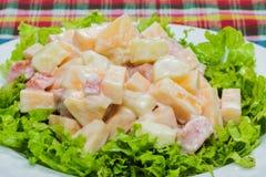 Fruit salad with cream Royalty Free Stock Photos