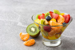 Fruit salad in crystal bowl Stock Photography