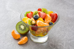 Fruit salad in crystal bowl Royalty Free Stock Image