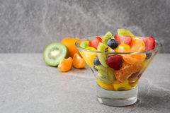 Fruit salad in crystal bowl Stock Images